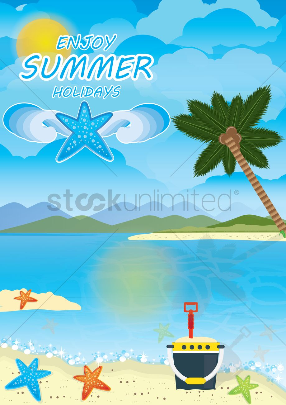 Enjoy Summer Holidays Poster Vector Graphic