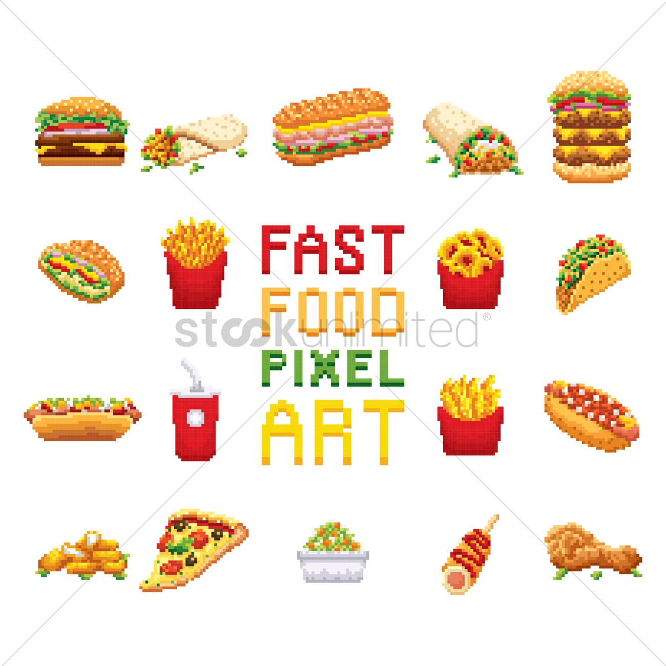 Fast Food Pixel Art Collection Vector Image 1987387