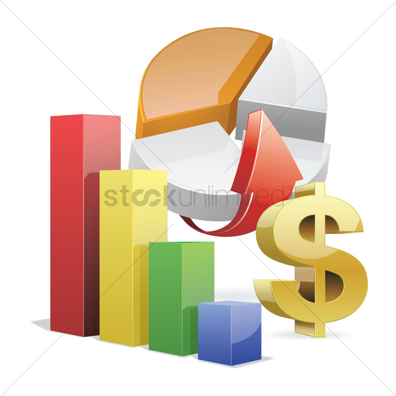 Free Financial Bar Graph And Pie Chart Vector Image 1454143
