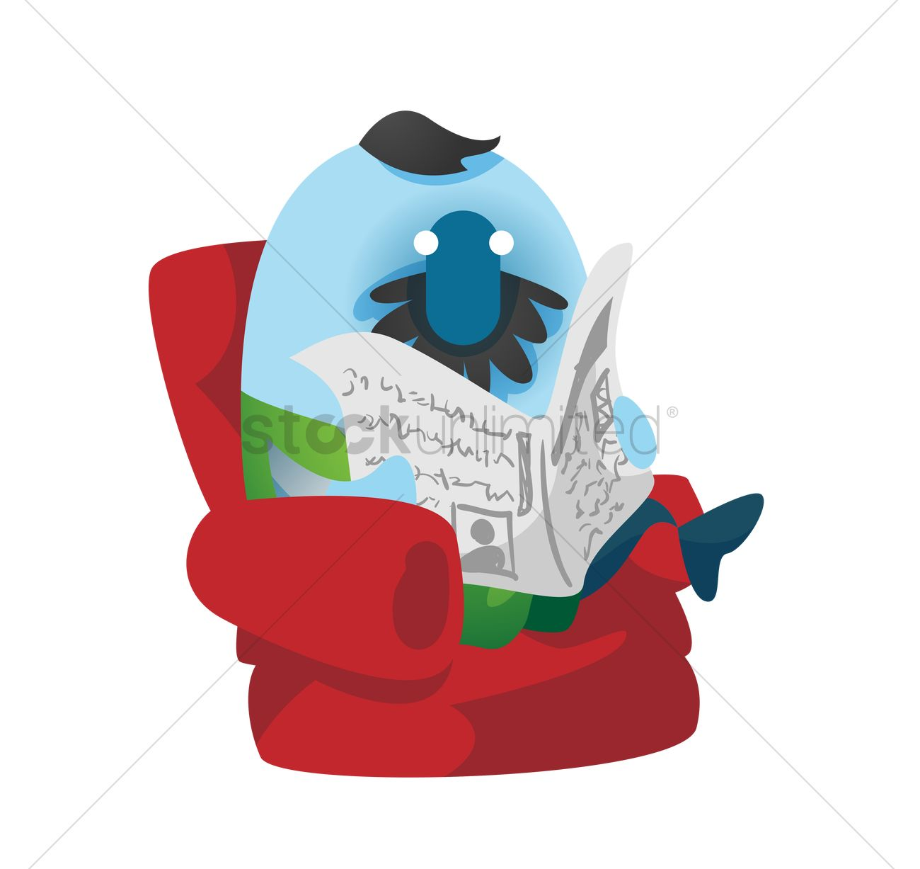 Fish cartoon reading the newspaper Vector Image - 1494163