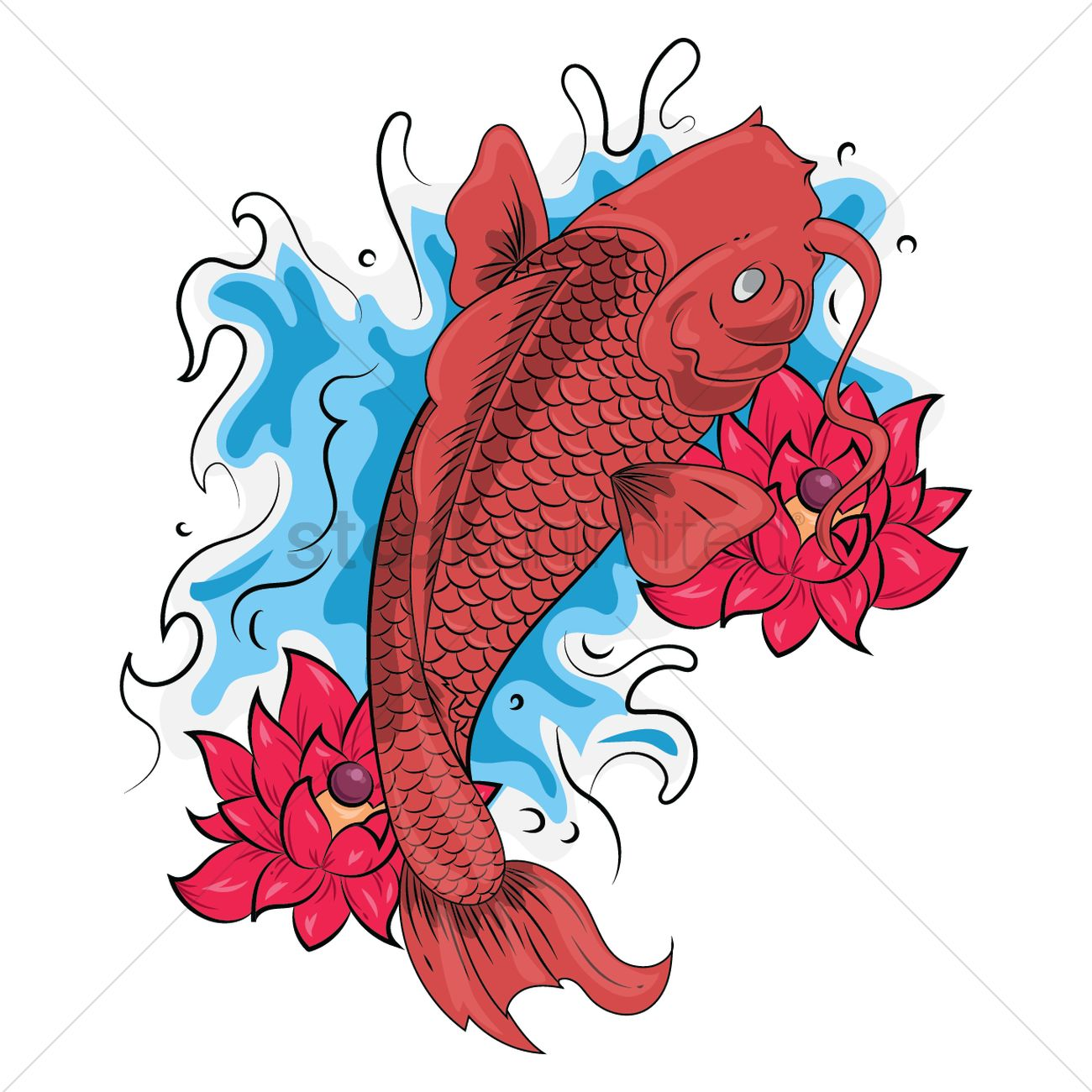 Fish tattoo design Vector Image - 1435579 | StockUnlimited