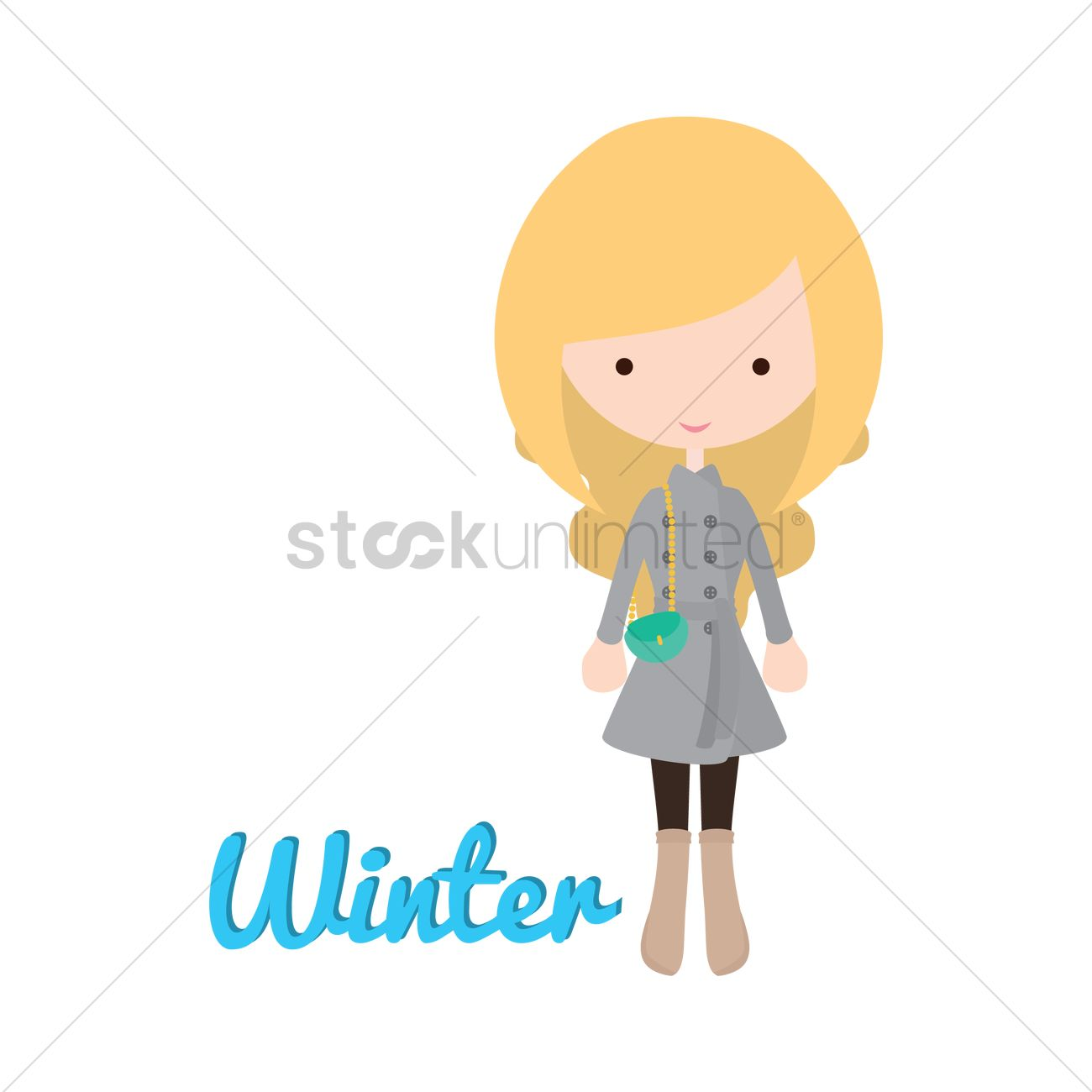 ae2546e10acd Girl s fashion in winter Vector Image - 1482211