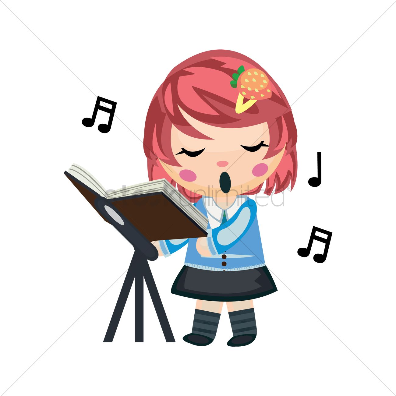 Free Girl Singing Song Vector Image - 1270447
