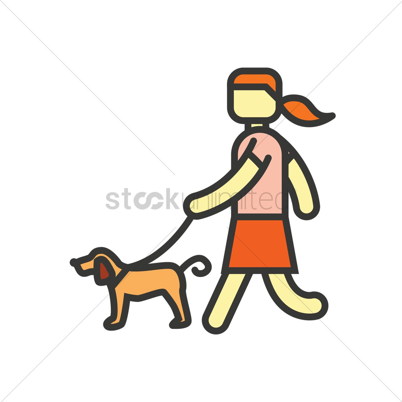 girl taking dog for walk vector image 1543267 stockunlimited stockunlimited