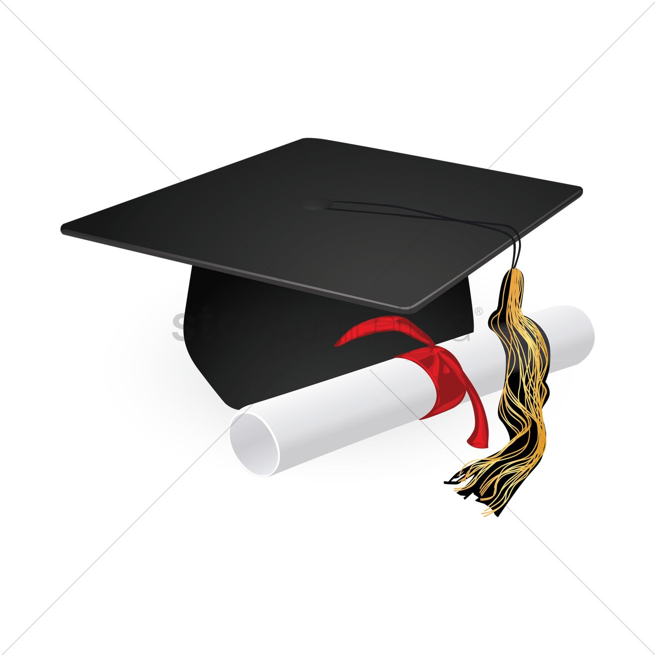 graduation cap and diploma scroll vector graphic