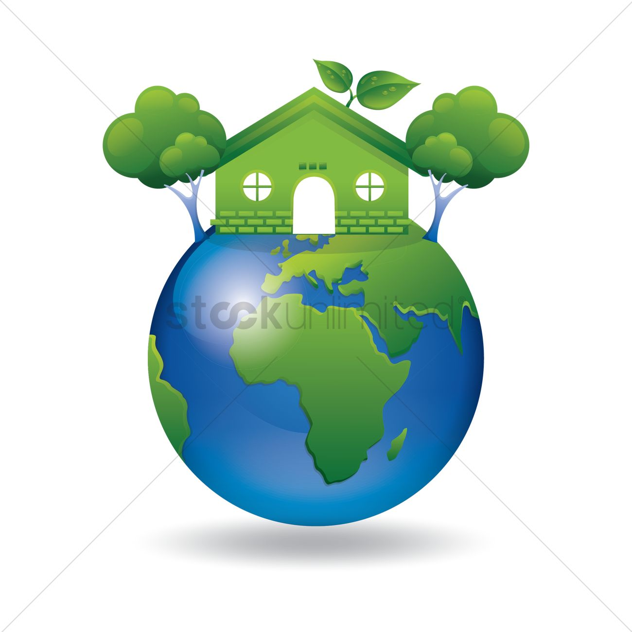 Green Earth With Go Green House And Tree Vector Image 1420275