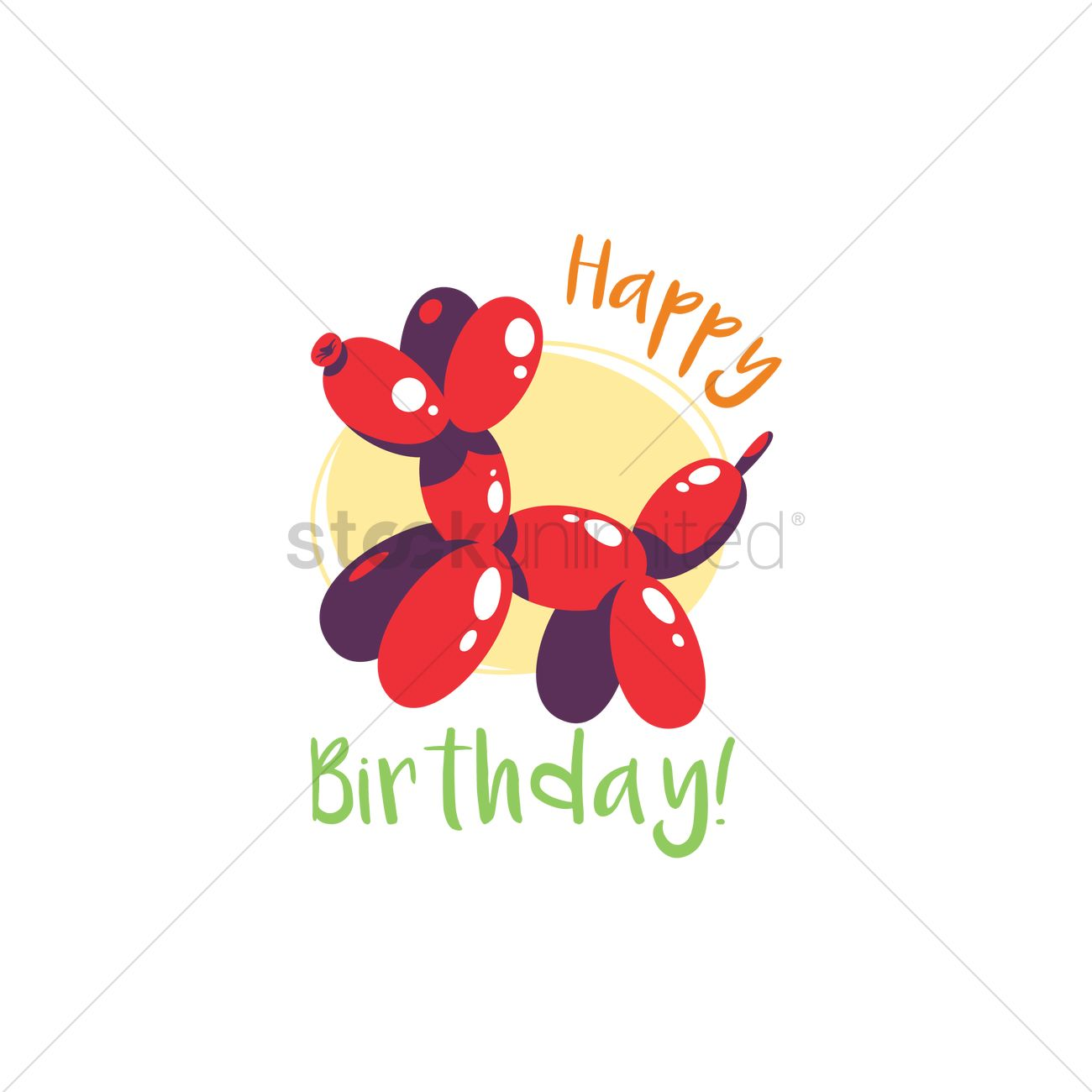 Happy Birthday Card With Balloon Dog Vector Graphic