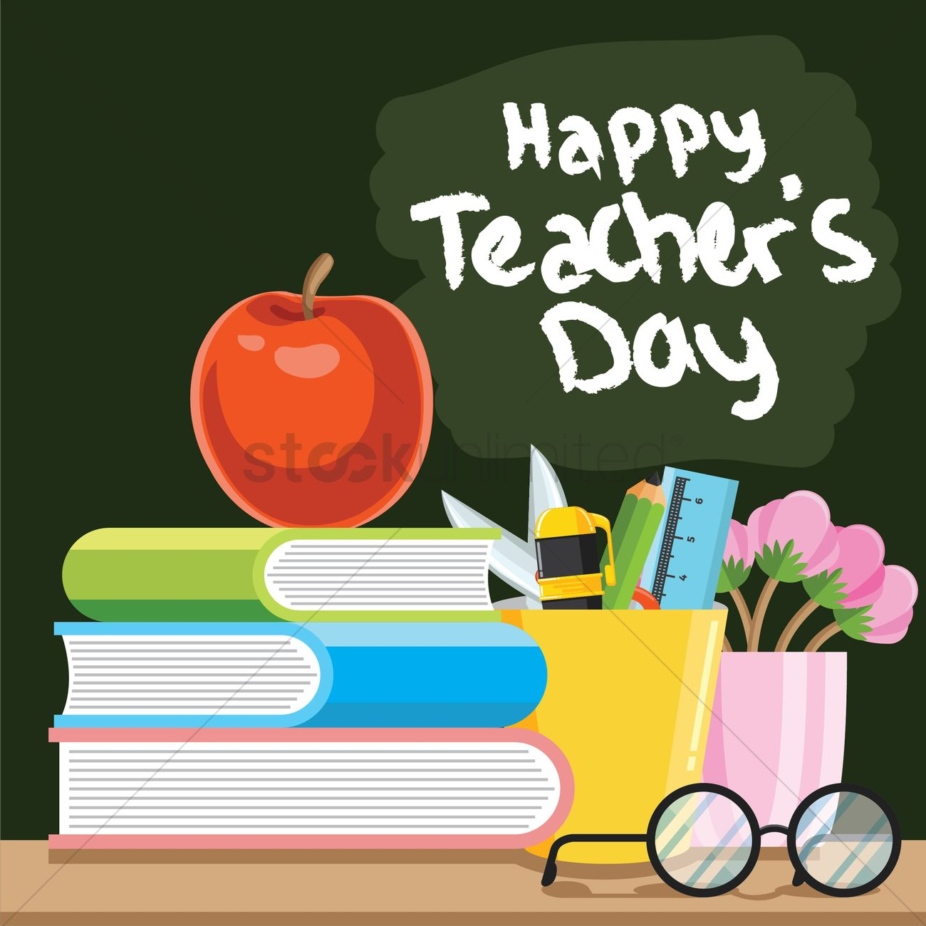 happy teacher's day design vector image  2007123