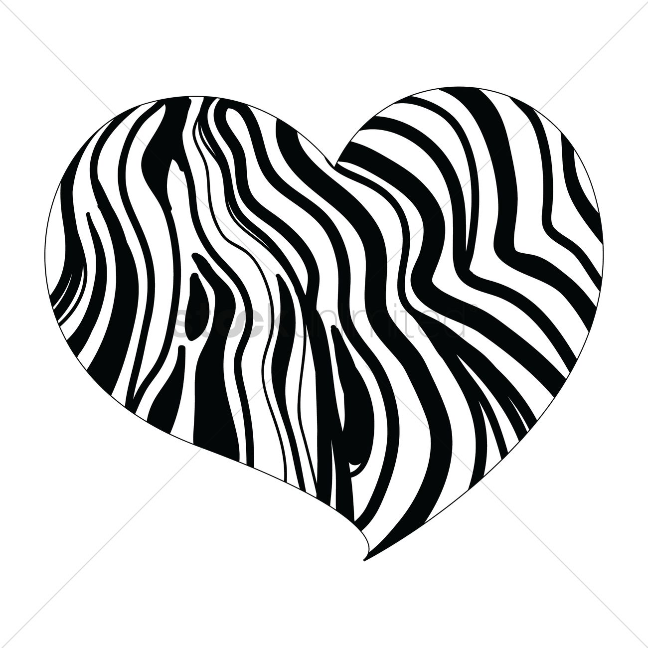 heart design with zebra print vector graphic
