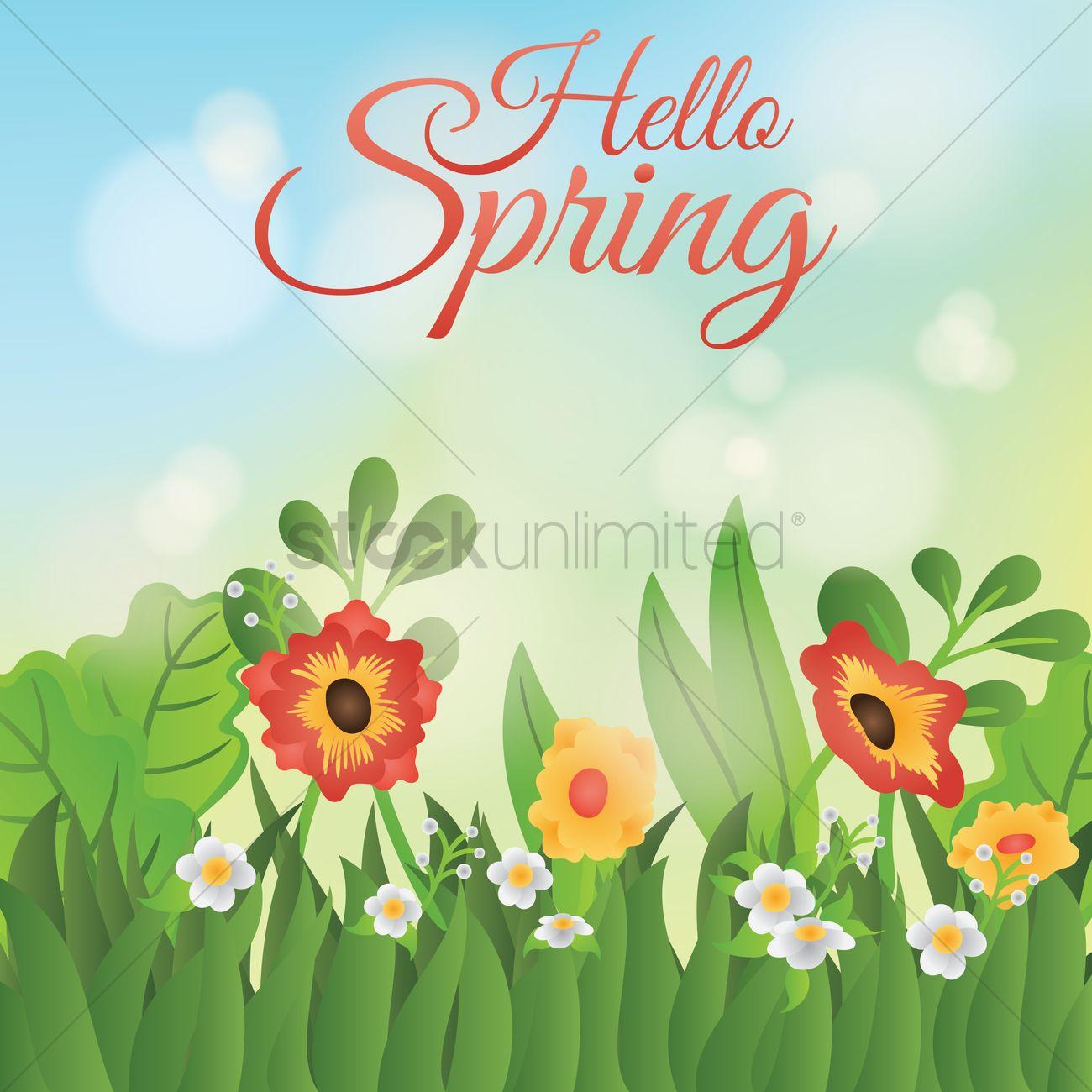 Hello Spring Card Design Vector Graphic