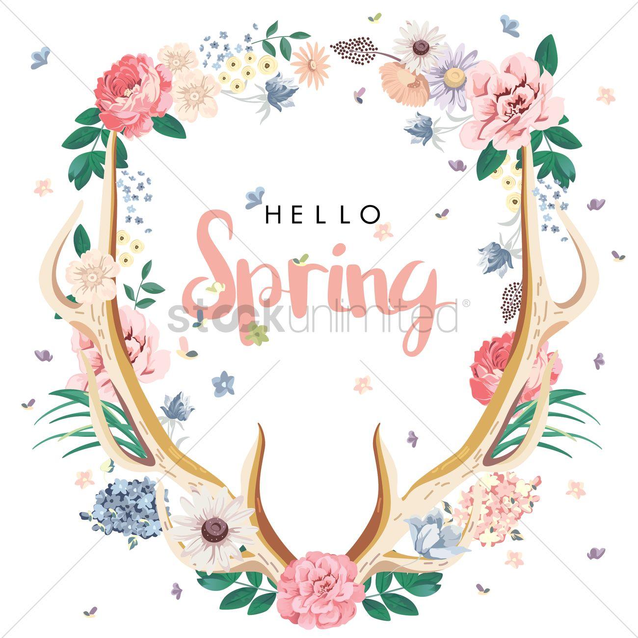 Merveilleux Hello Spring Card Design Vector Graphic