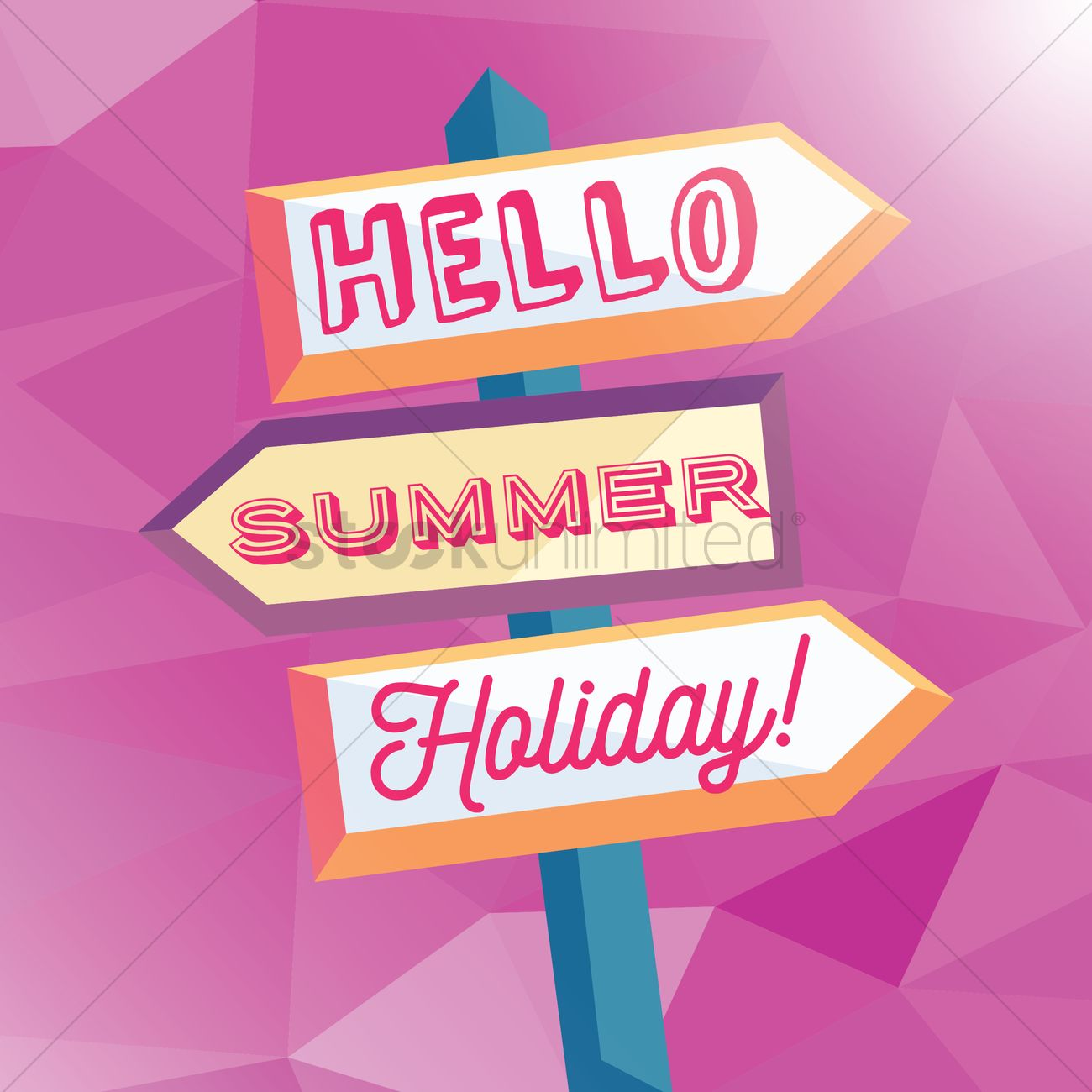 Hello Summer Holiday Card Vector Graphic