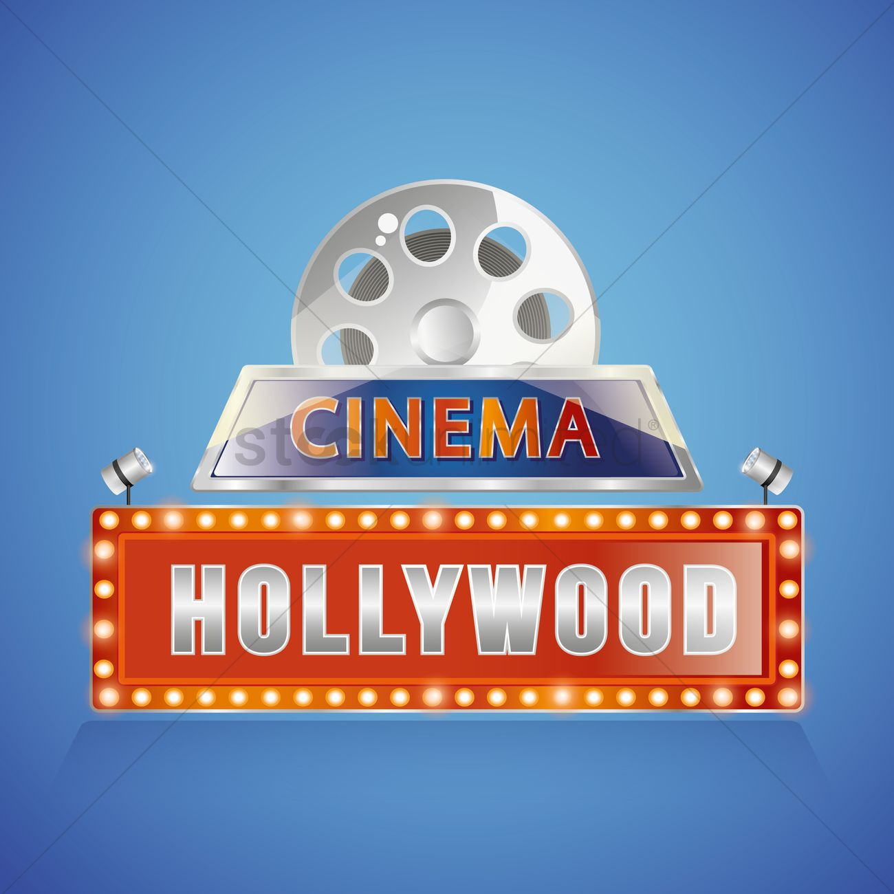 Hollywood Cinema Sign Vector Graphic