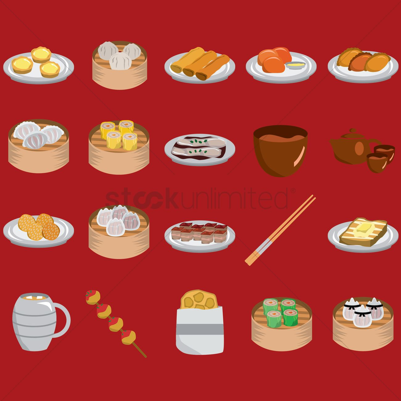 Hong kong popular food set vector image 1594687 for Cuisine x hong kong