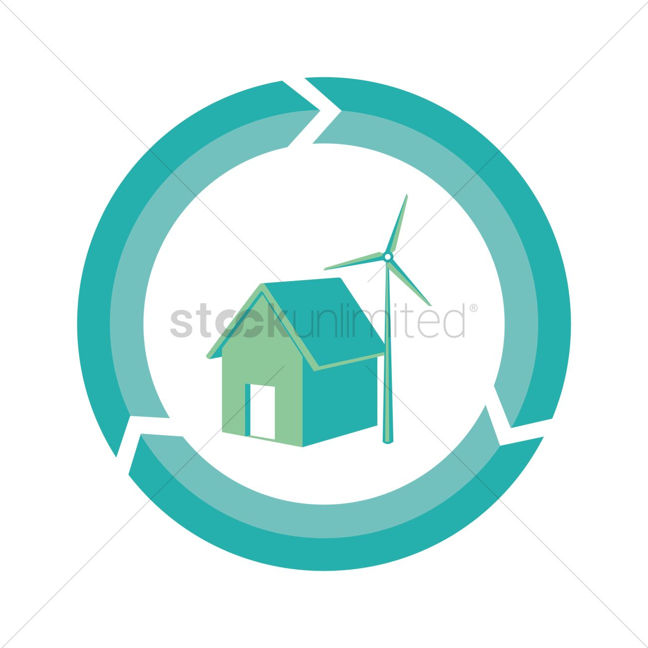 House And Wind Turbine In Renewable Symbol Vector Image 1413207