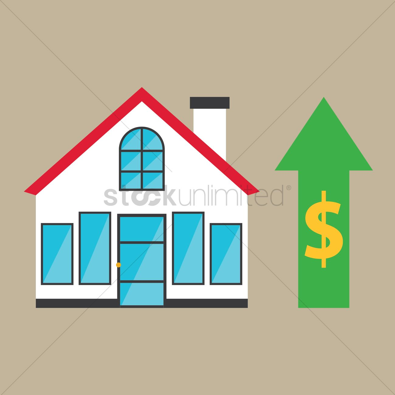 Great House Price On Raise Vector Graphic