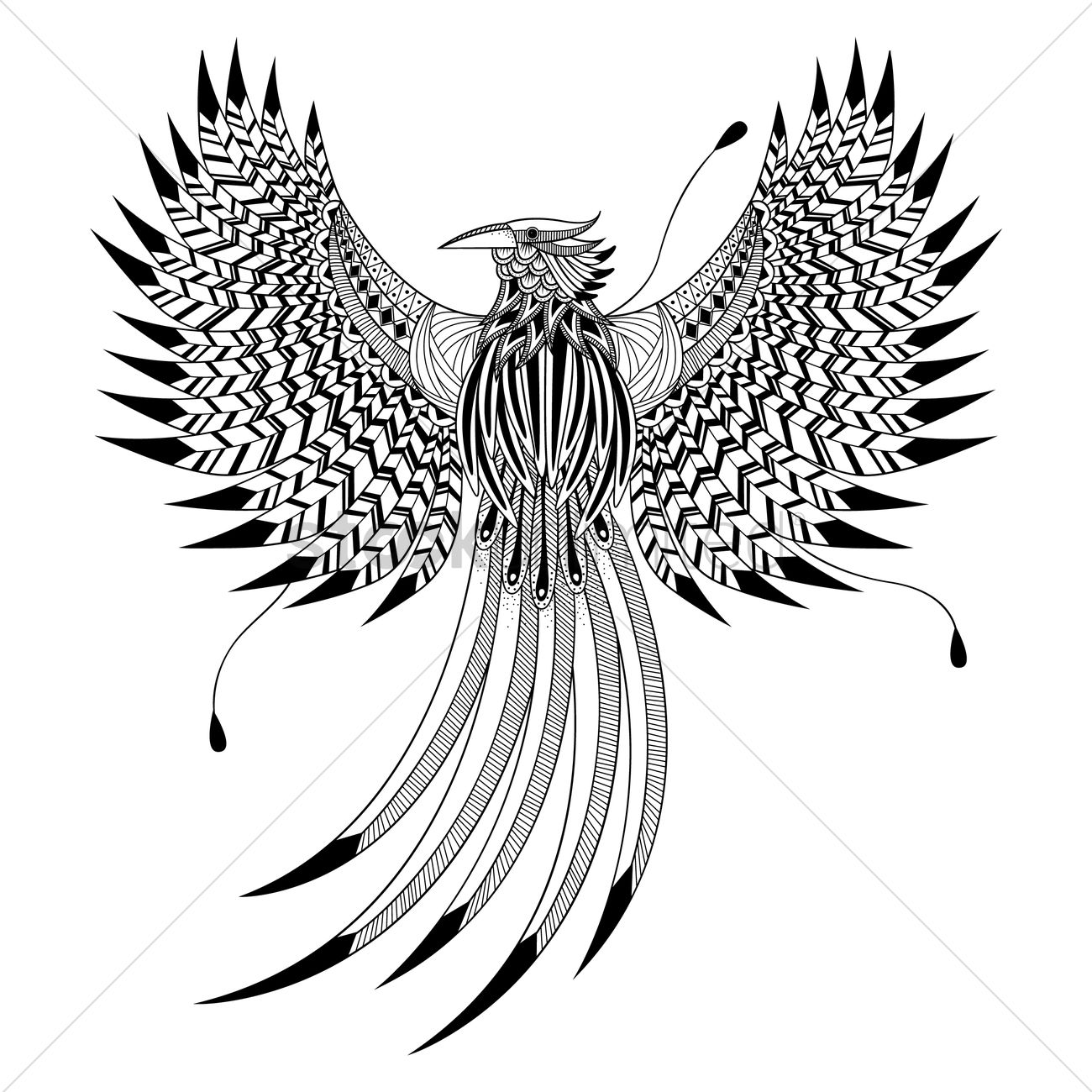 Intricate bird design Vector Image - 1623183 | StockUnlimited