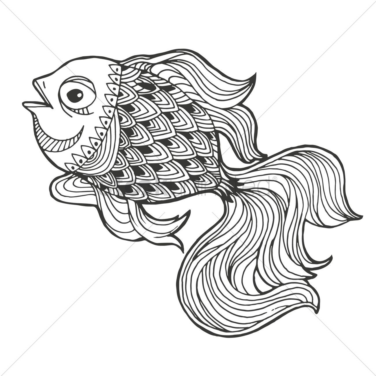 Line Drawing Of Fish : Intricate fish design vector image stockunlimited