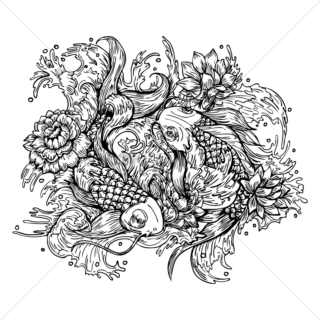 Intricate Koi Fish Designs Vector Graphic