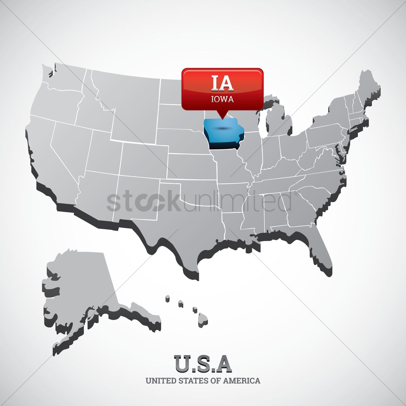 Iowa state on the map of usa Vector Image - 1532639 | StockUnlimited