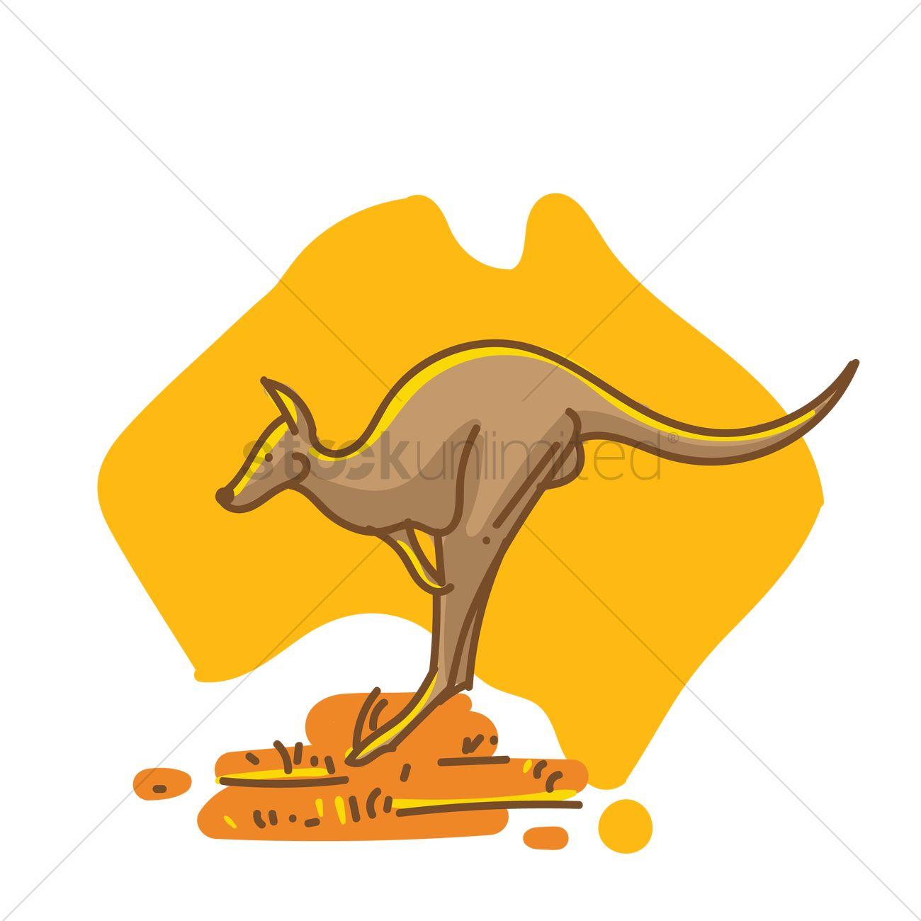 Kangaroo On Australia Map Vector Image StockUnlimited - Australia map kangaroo