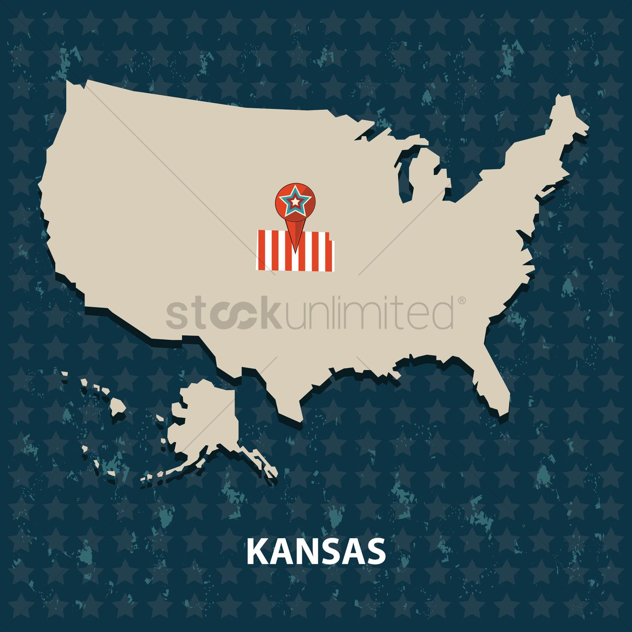 Kansas State On The Map Of Usa Vector Image 1552231 Stockunlimited