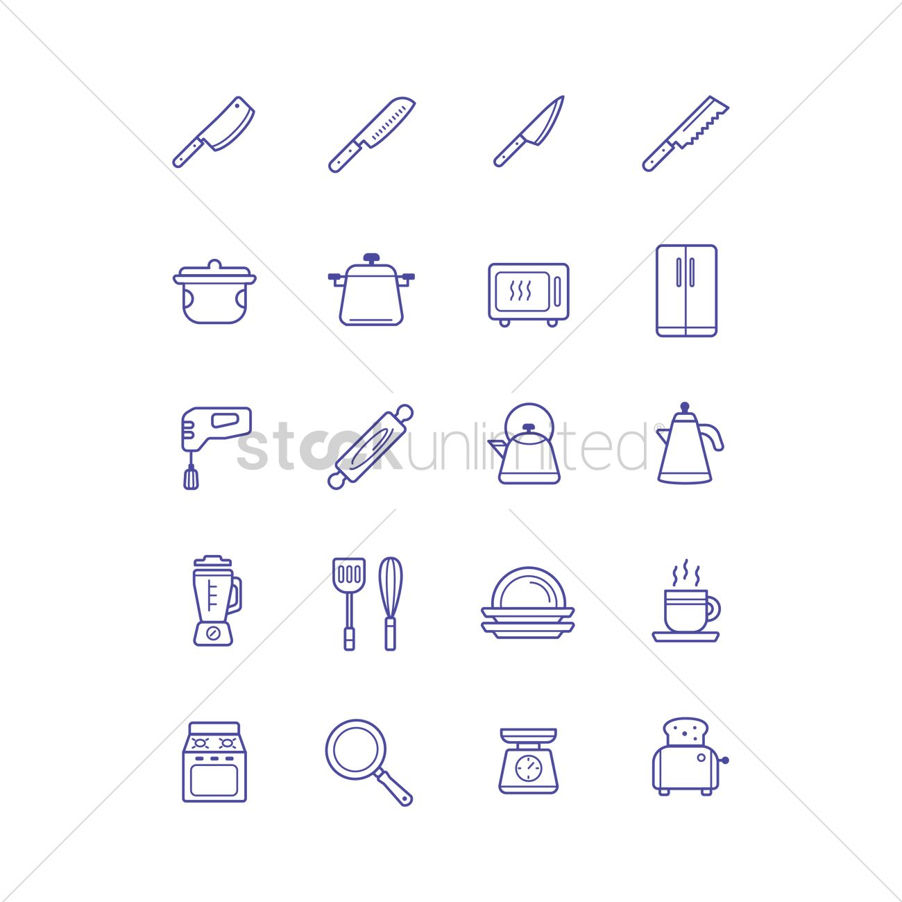 Kitchen Icon Collection Vector Image 2027143 Stockunlimited
