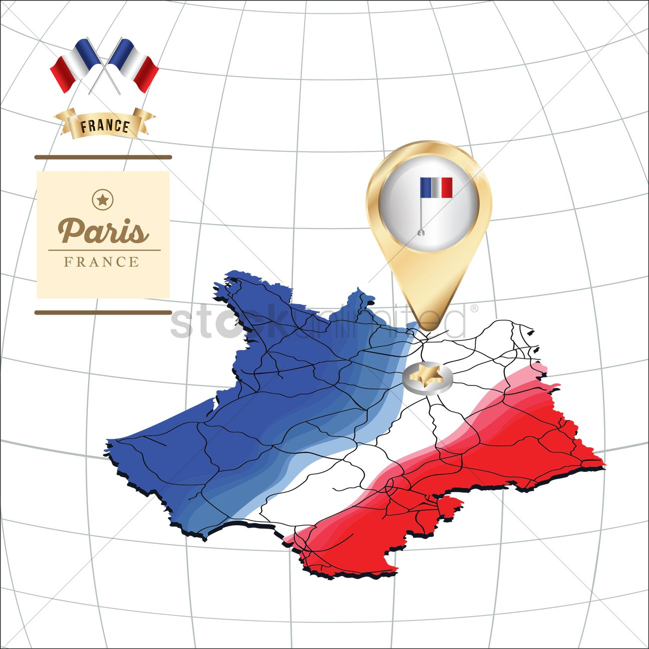 Location pin pointing paris Vector Image - 1601631 ...