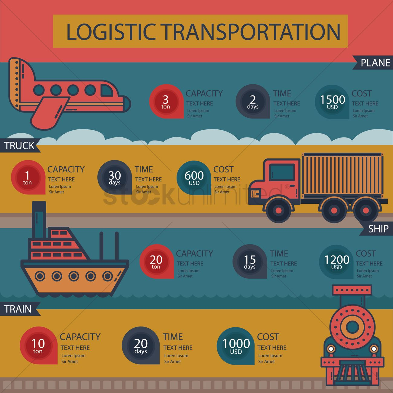 Logistic transportation Vector Image - 1306159 | StockUnlimited