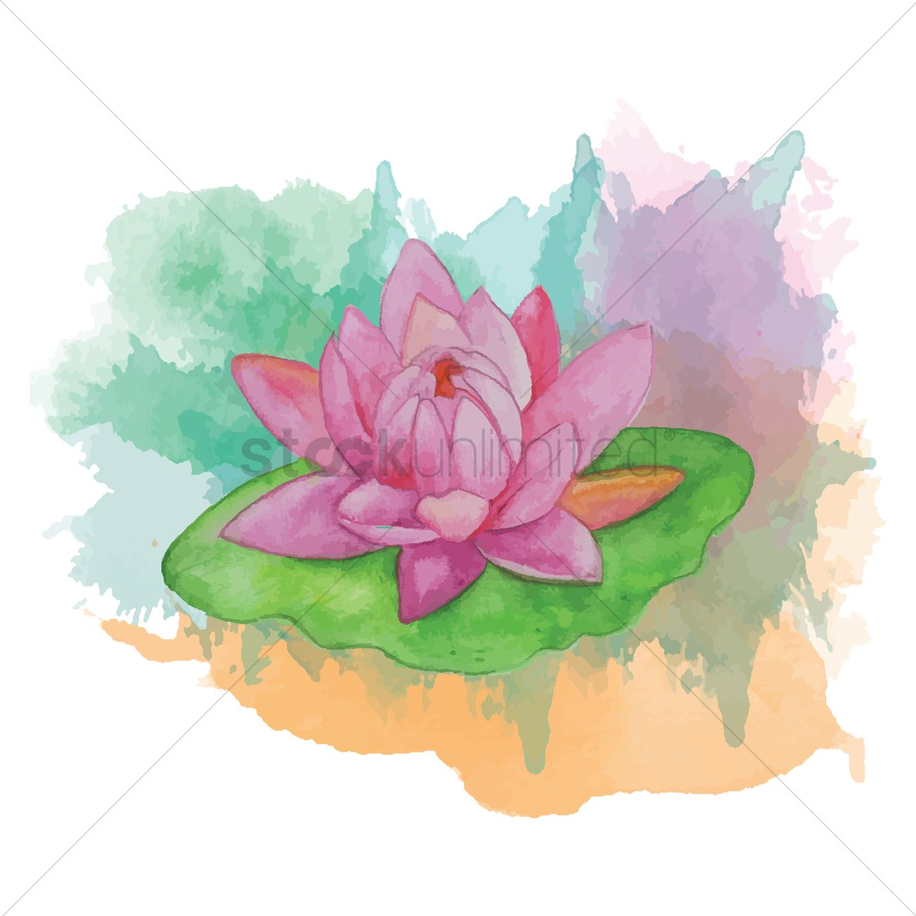 Lotus Flower With Leaf Vector Image 1869387 Stockunlimited