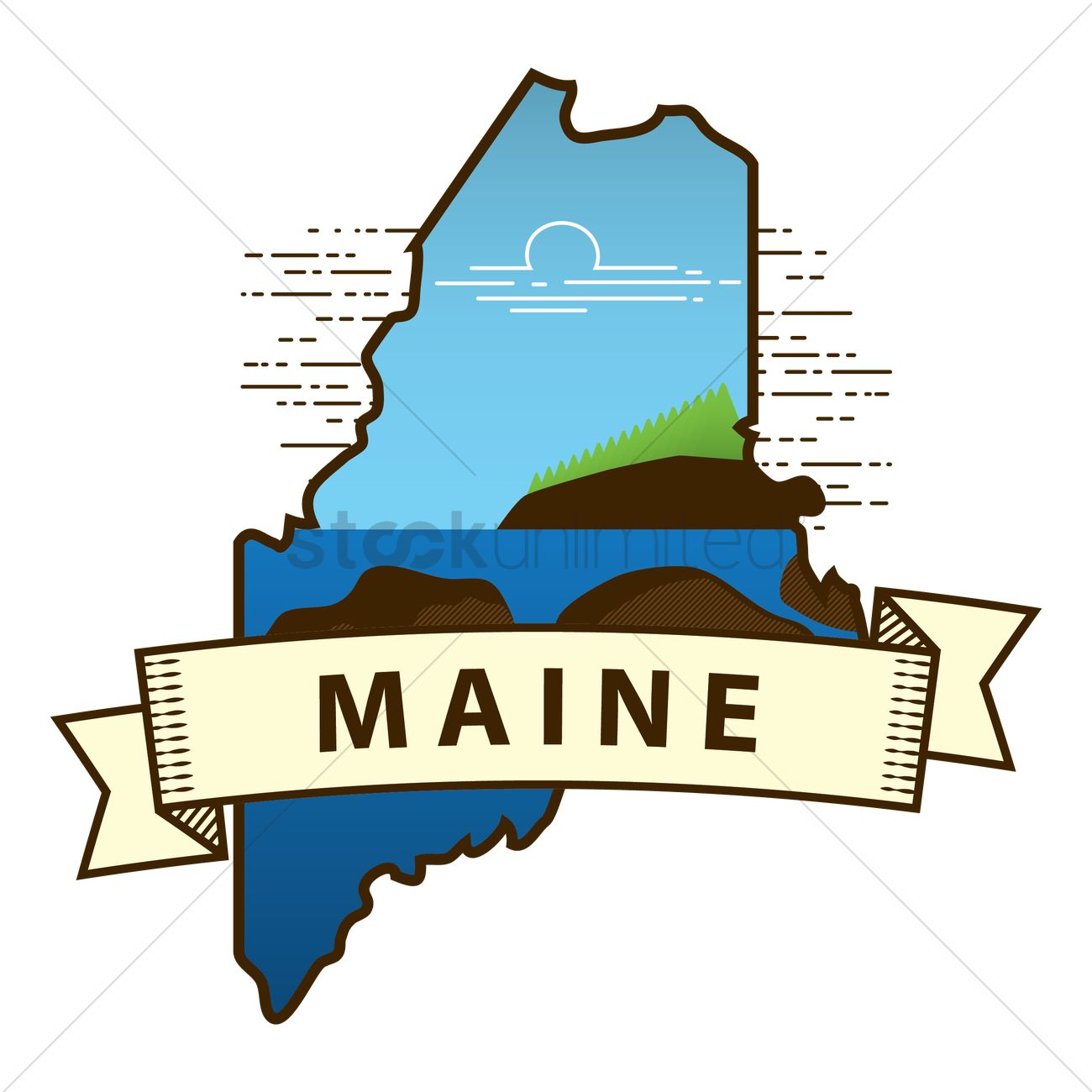 Maine state map Vector Image - 1564463 | StockUnlimited
