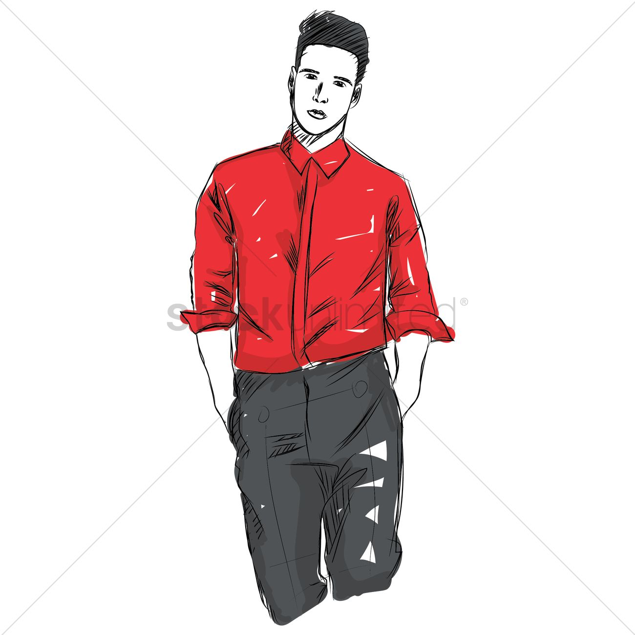 Man fashion design sketch vector graphic