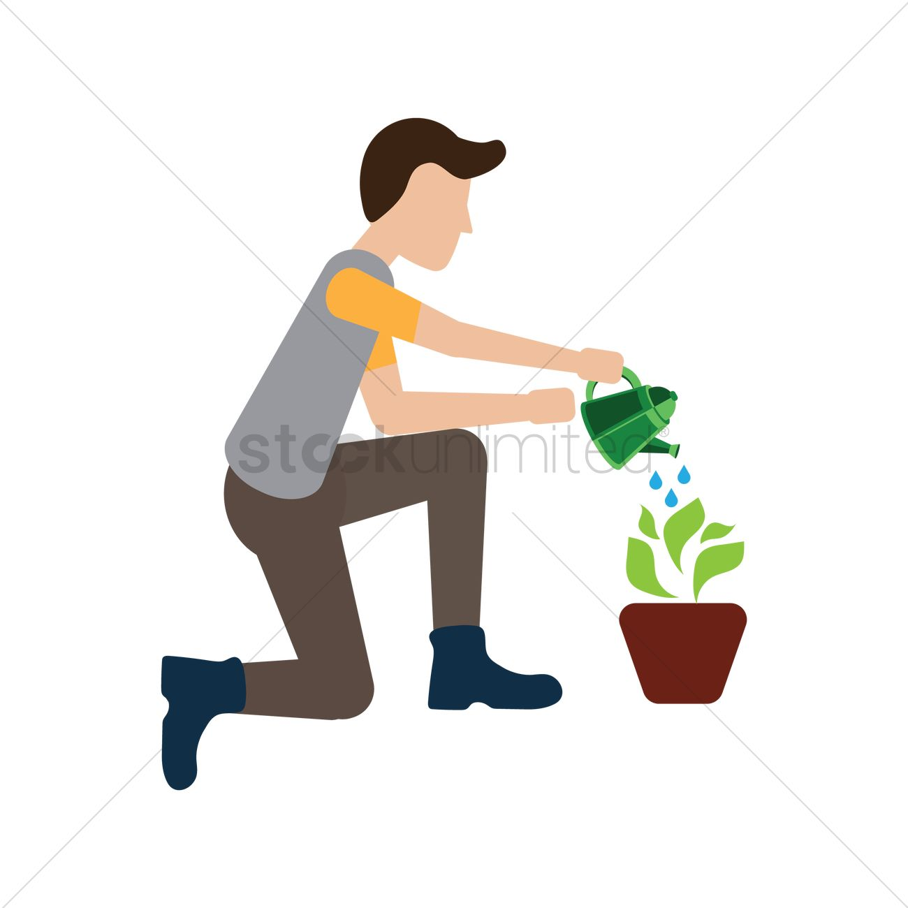 Man Watering Plant Vector Image 1548291 Stockunlimited