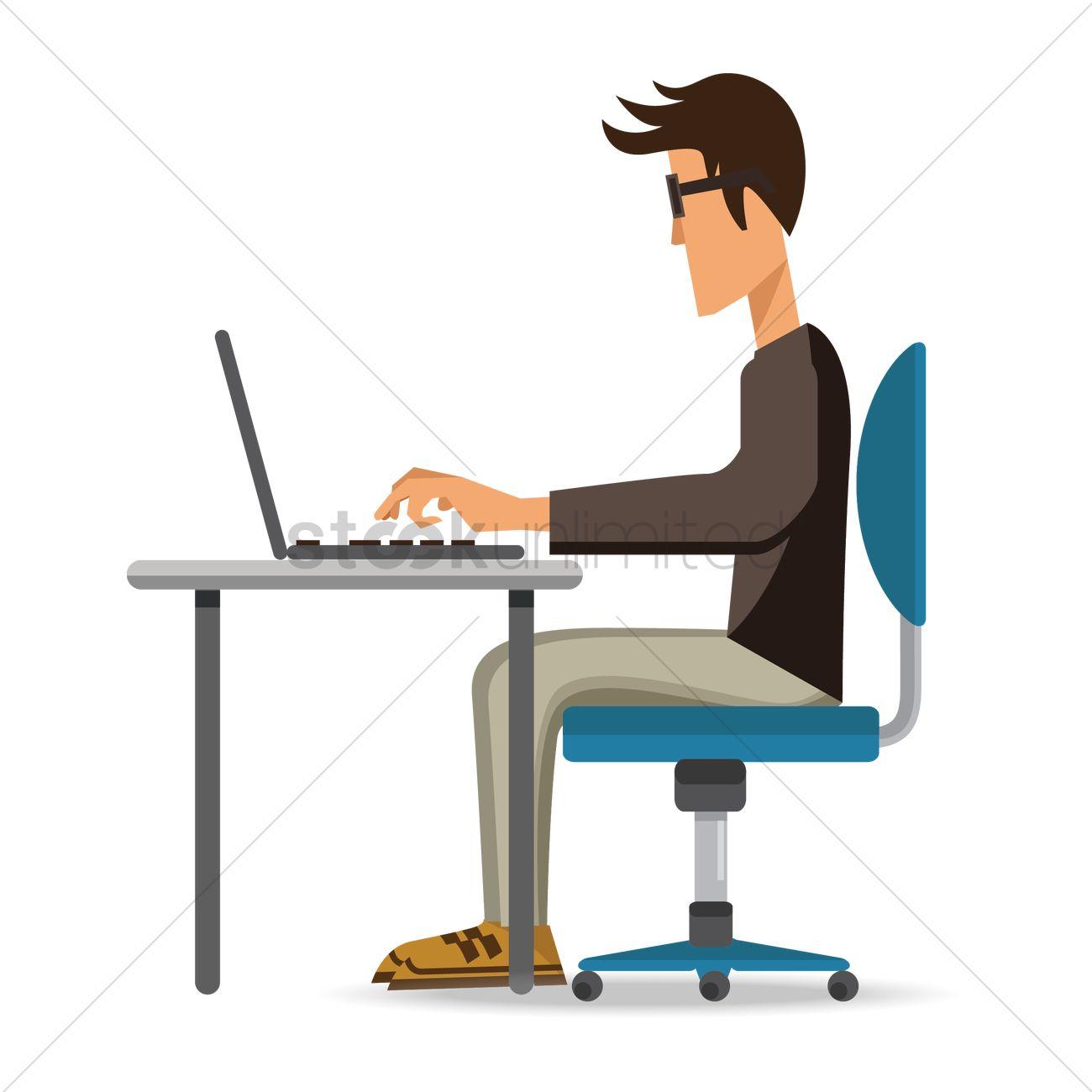 Designer Computer Desk Man Working On Laptop Vector Image 1559583 Stockunlimited