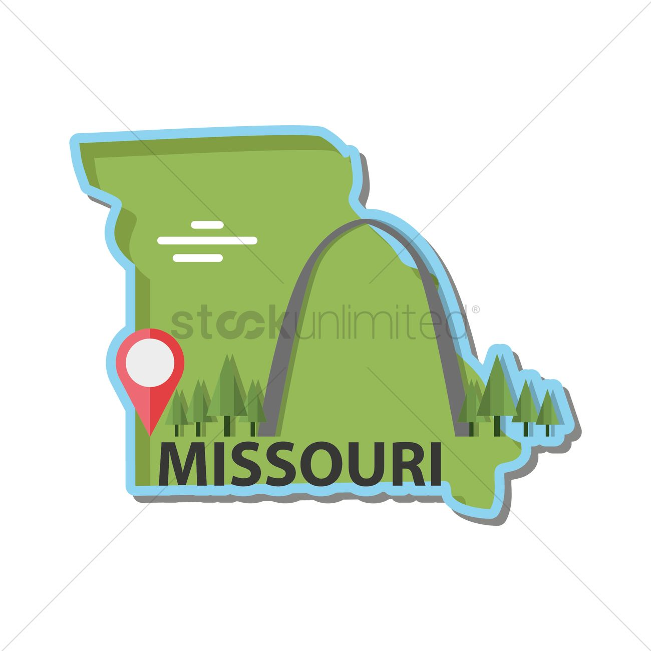 Map of missouri state Vector Image - 1550387   StockUnlimited
