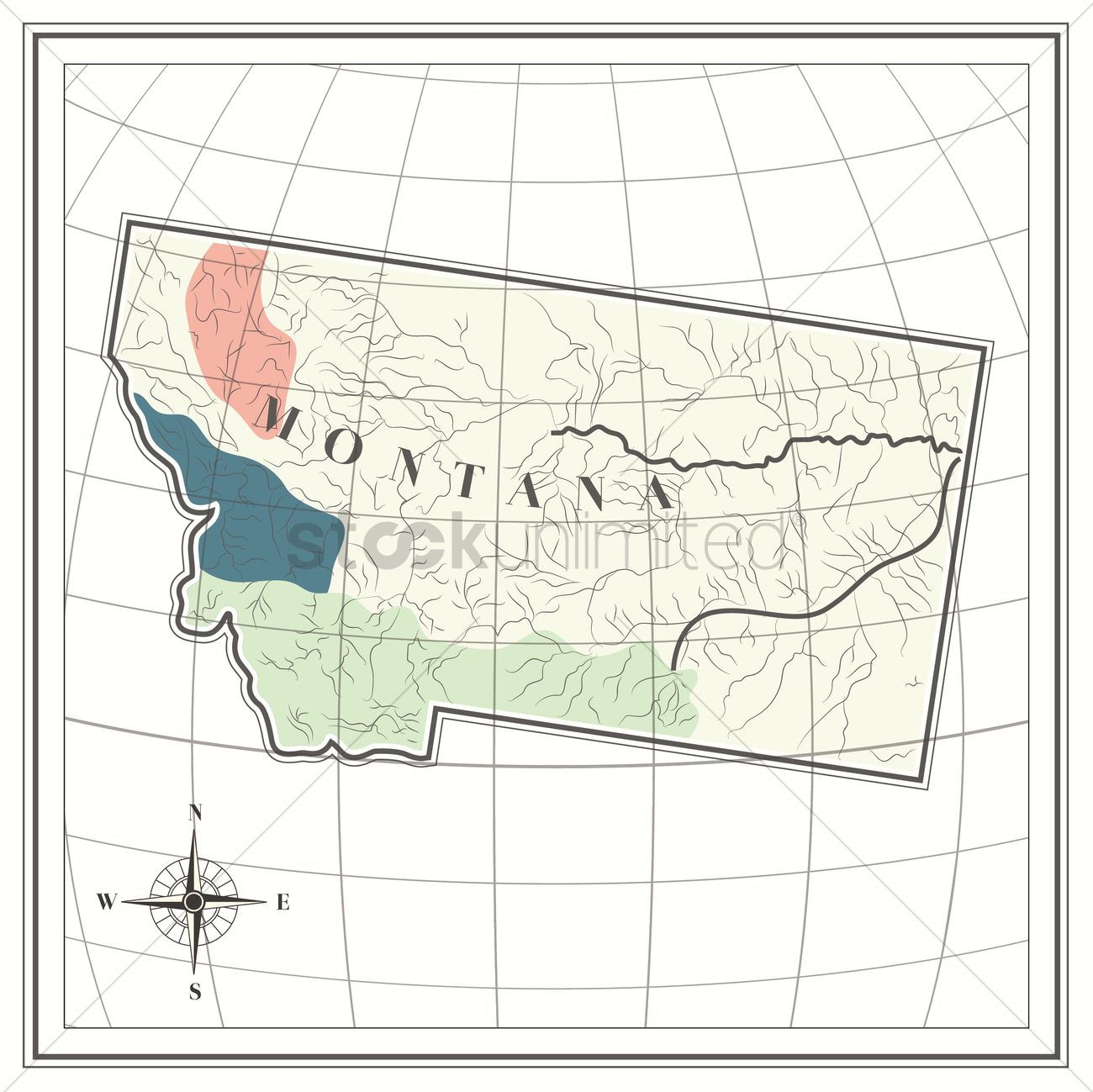 Map of montana state Vector Image - 1535355 | StockUnlimited Montana Usa Map With Compas Rose on