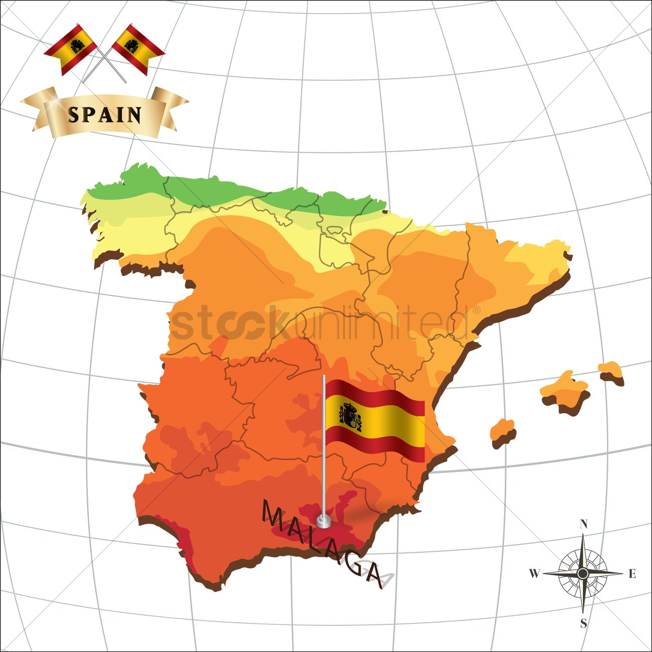 Map Of Spain With Malaga Vector Image 1597923 Stockunlimited