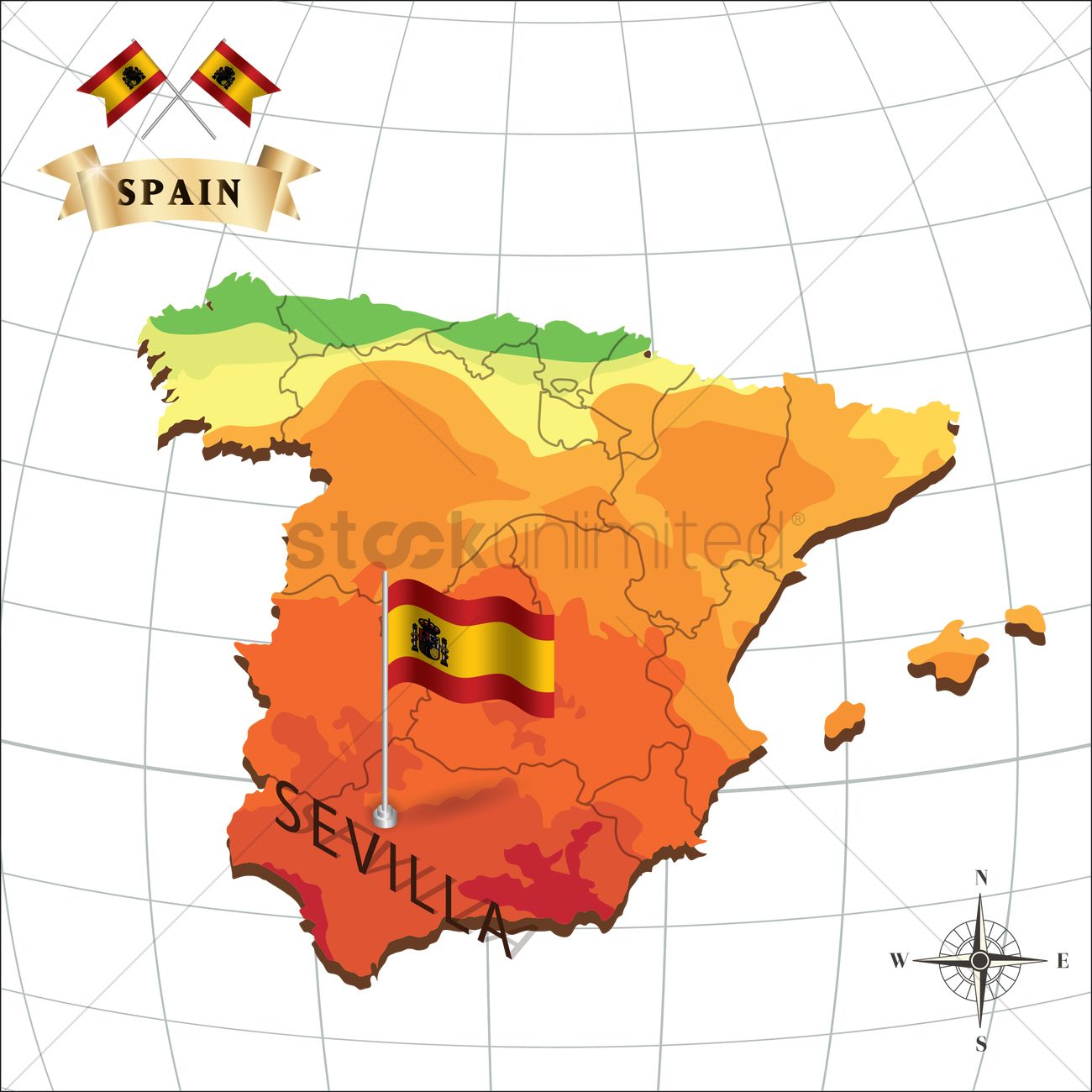 Map of spain with sevilla Vector Image - 1597919 | StockUnlimited