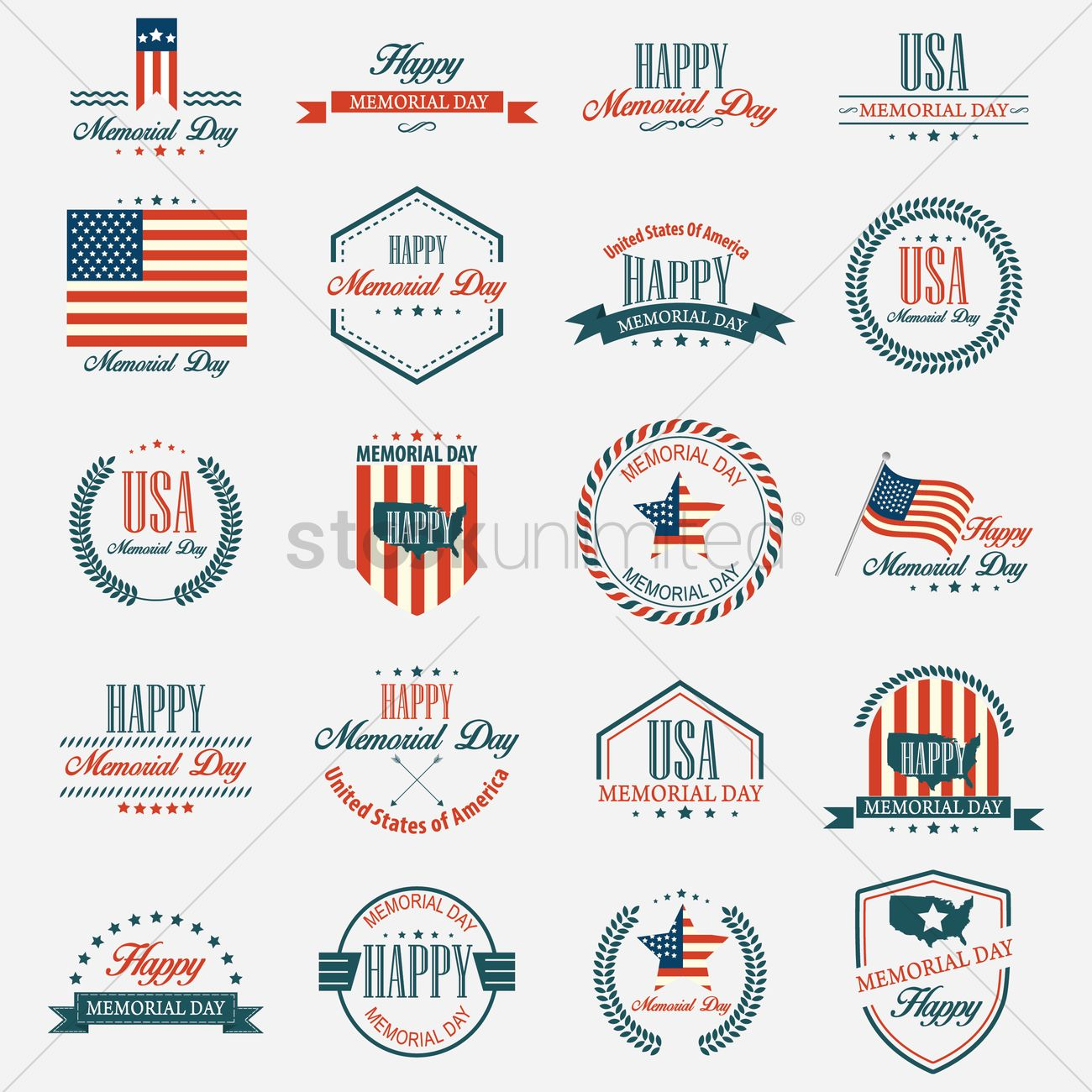 Memorial Day Badges and Labels in Vintage Style Vector Image