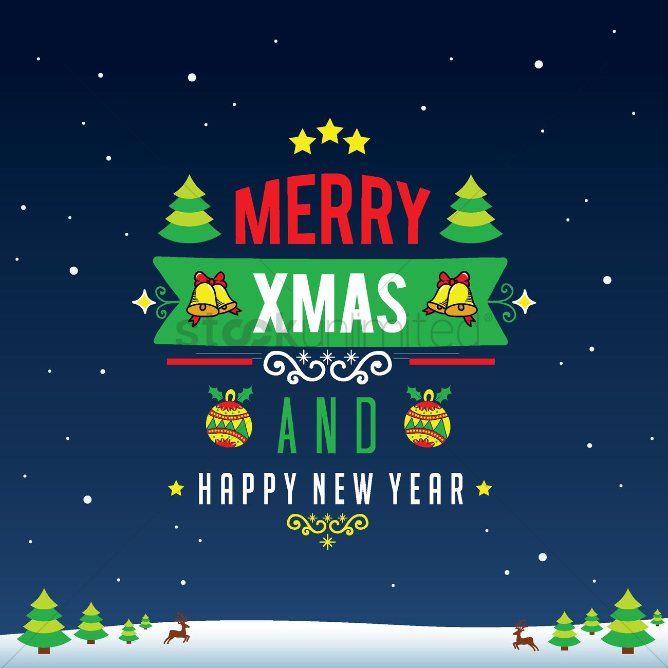 Merry christmas and happy new year card design Vector Image ...