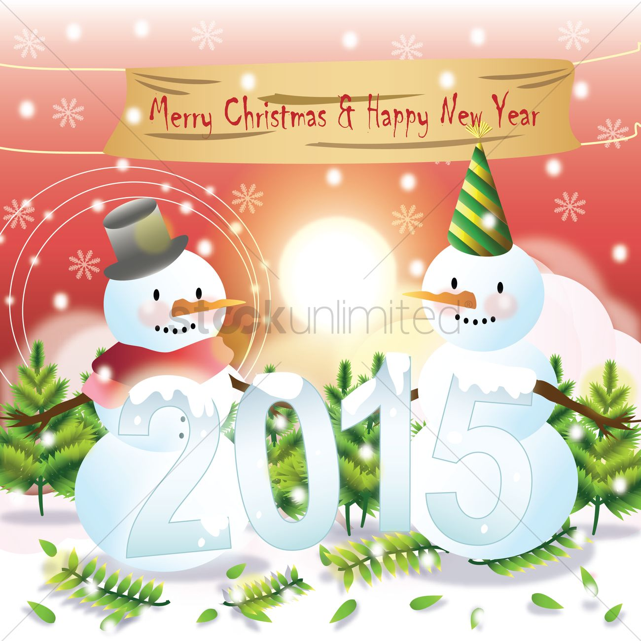 Merry christmas and happy new year card Vector Image - 1483931 ...