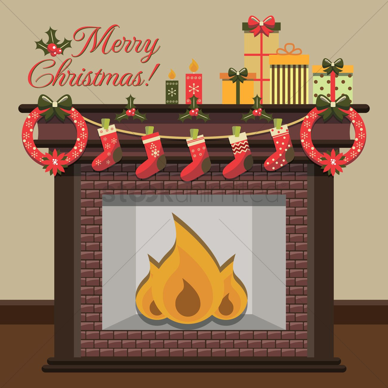 Merry christmas card design Vector Image - 1498567 | StockUnlimited