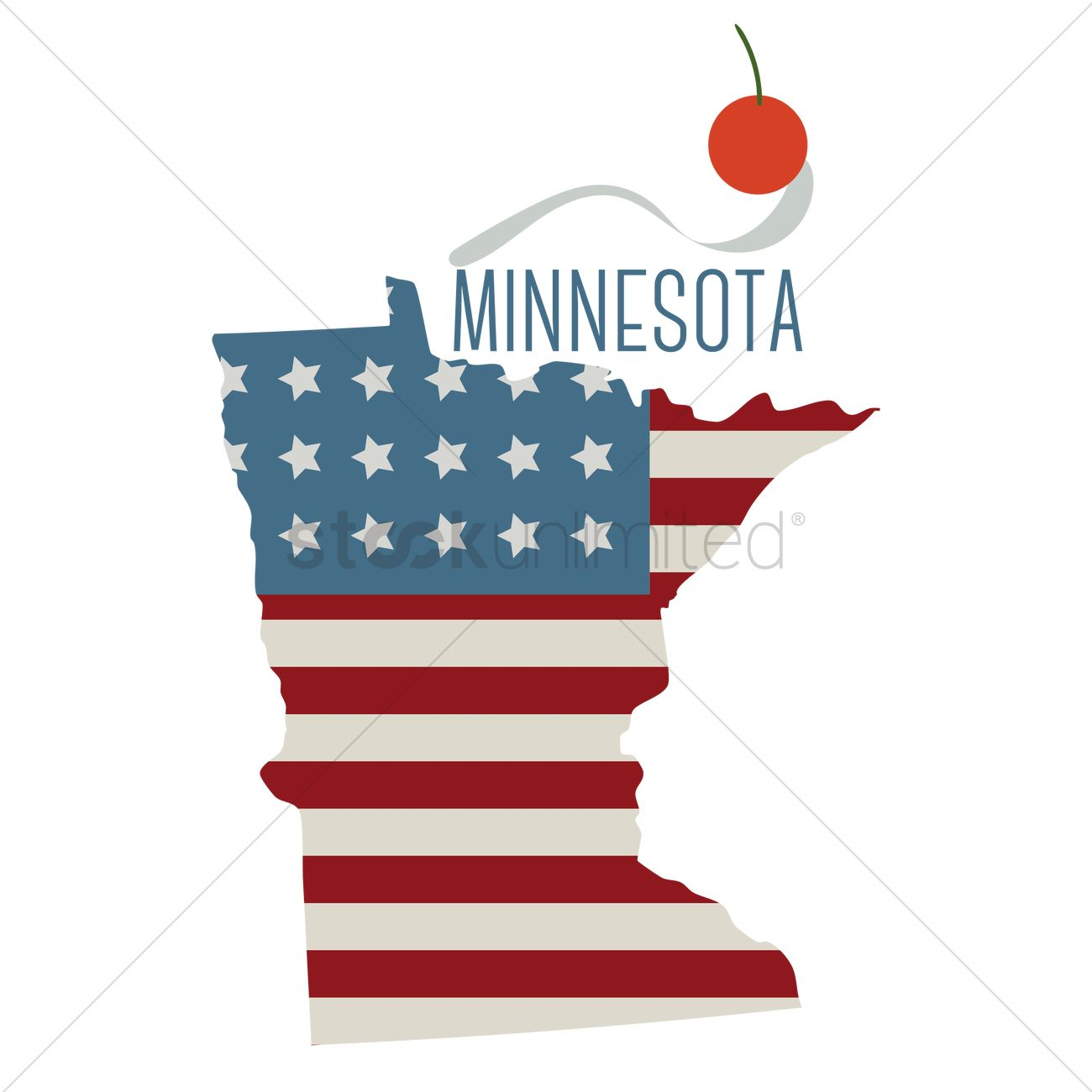 Minnesota state map with spoon bridge and cherry Vector Image ...