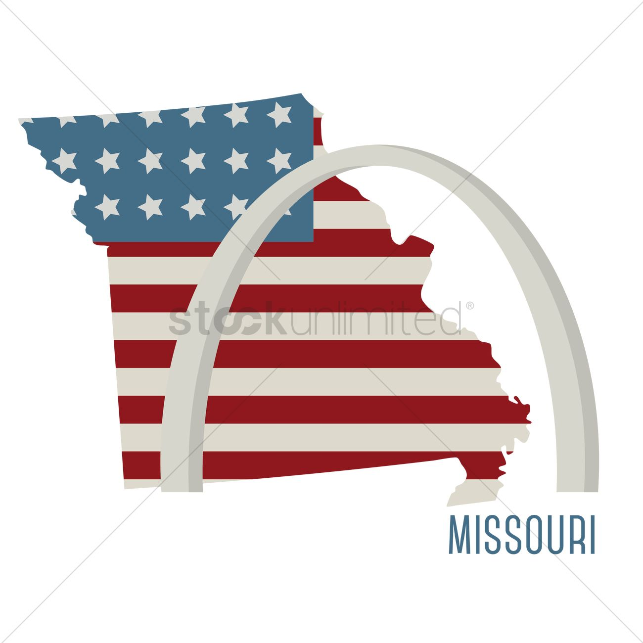 Missouri state map with st. louis gateway arch Vector Image ...