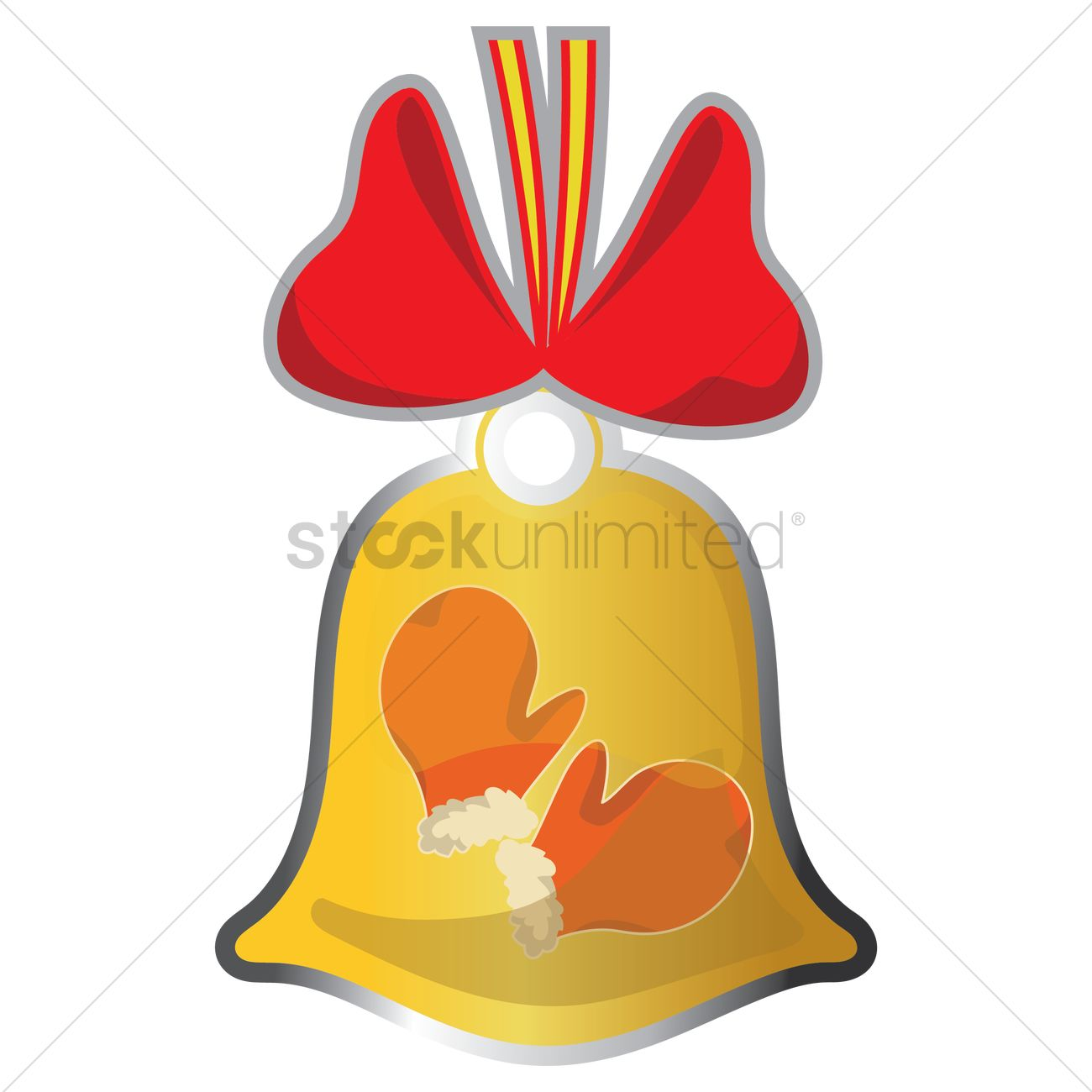 mittens in christmas bell vector graphic - Christmas Mittens