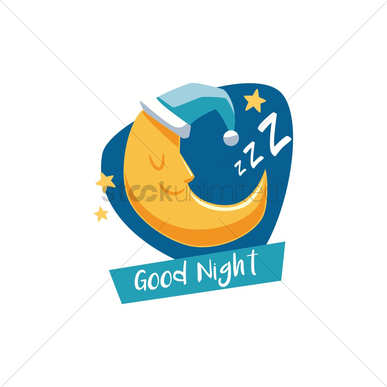 Moon With Good Night Text Vector Image 1803143 Stockunlimited