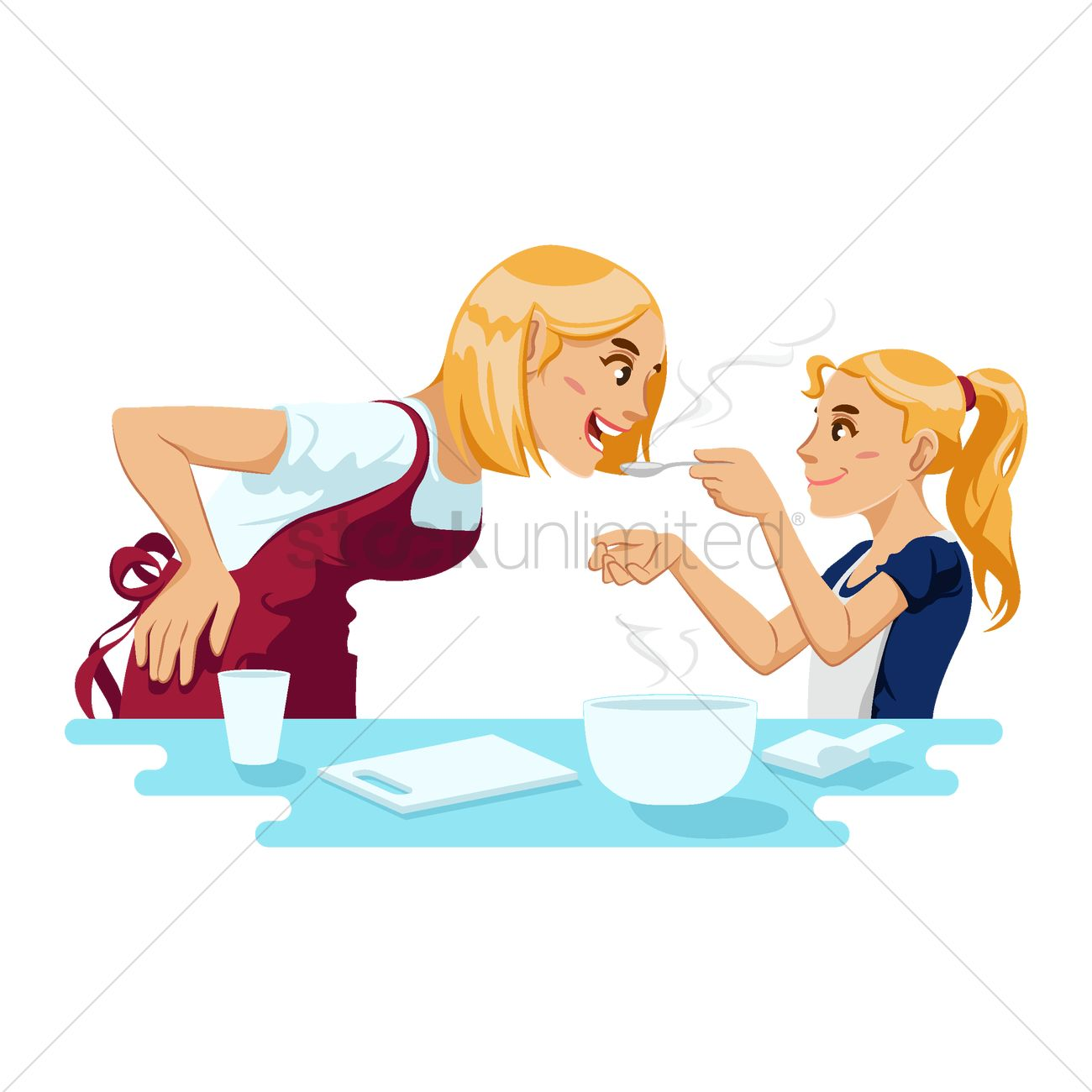 Mother and daughter cooking together Vector Image - 1998639 ...