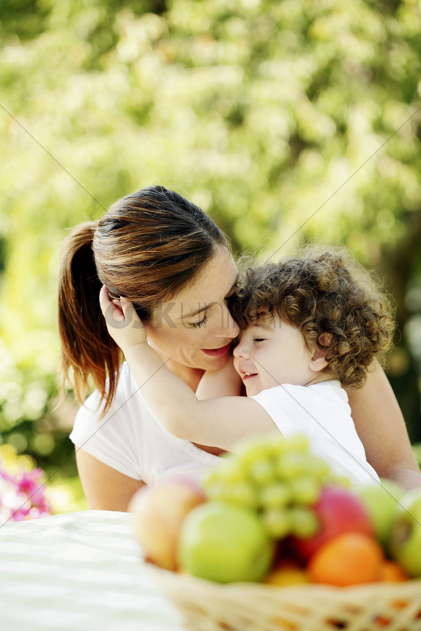 Mother And Daughter Hug Portrait Stock Photo - Download