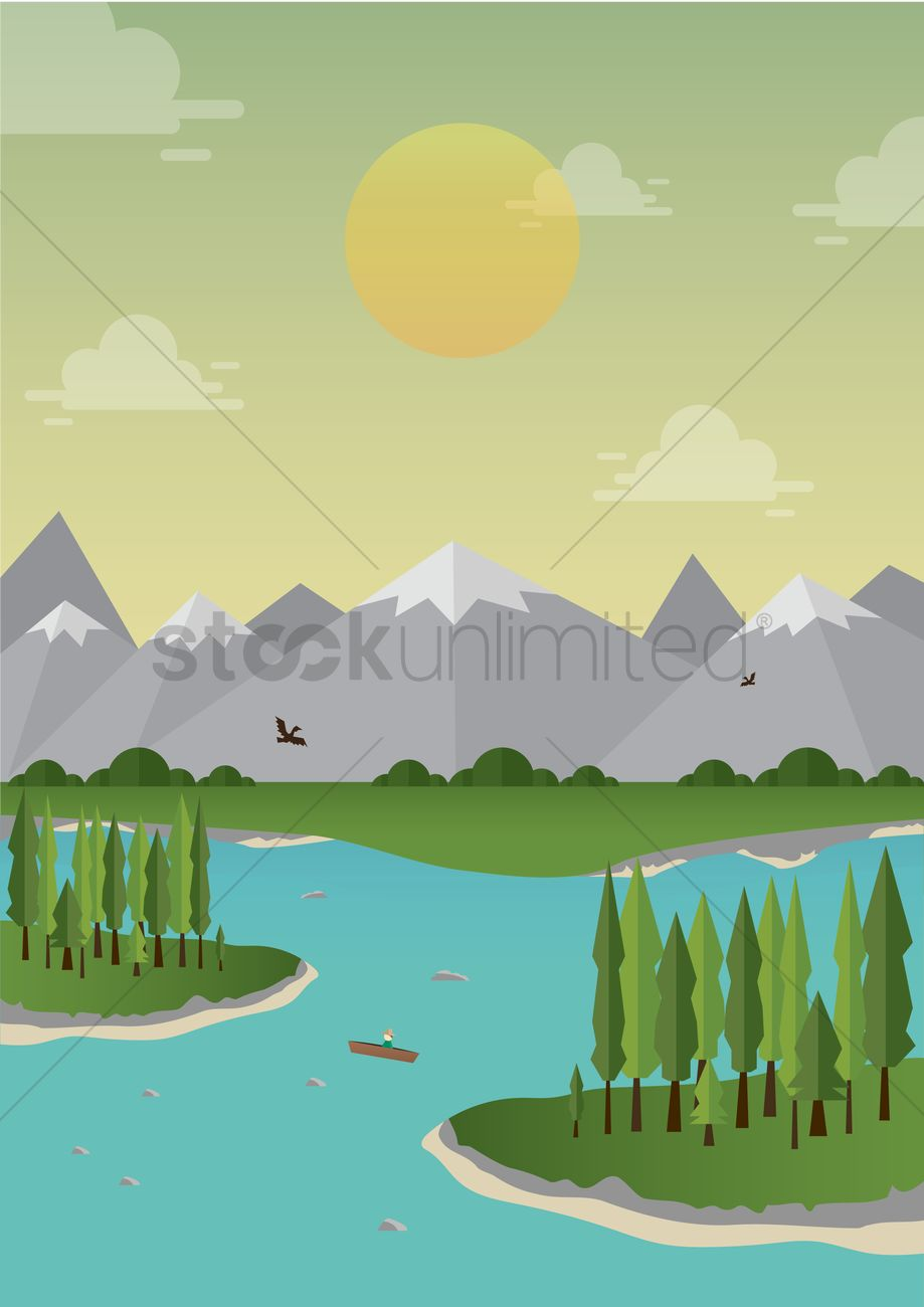 mountain landscape with river vector image 1500723 stockunlimited mountain landscape with river vector