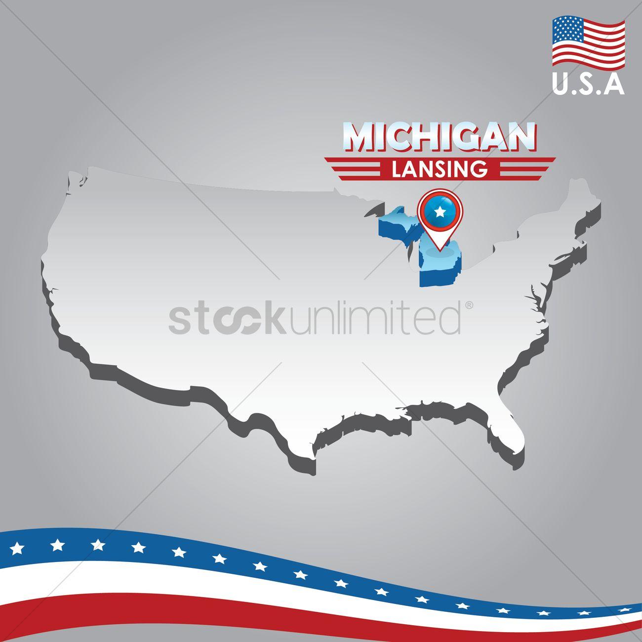navigation pointer indicating michigan on usa map vector graphic